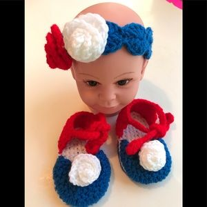 Other - HAND CROCHETED BABY GIRL HEADBAND RED WHITE BLUE